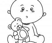 Coloriage Ours en peluche et bébé