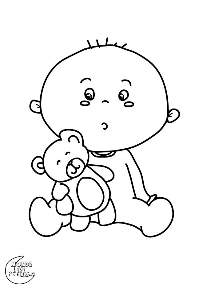 Coloriage et dessins gratuits Ours en peluche et bébé à imprimer