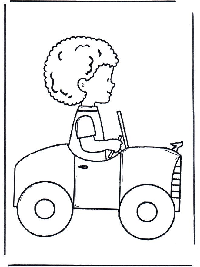 Coloriage et dessins gratuits Petit garçon en voiture à imprimer