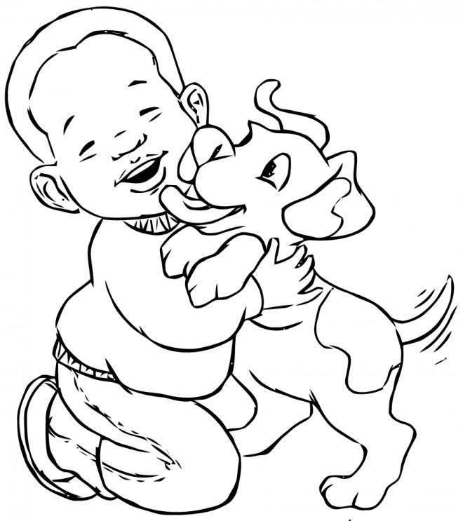 Coloriage petit gar on et son chien dessin gratuit imprimer - Dessin petit garcon ...