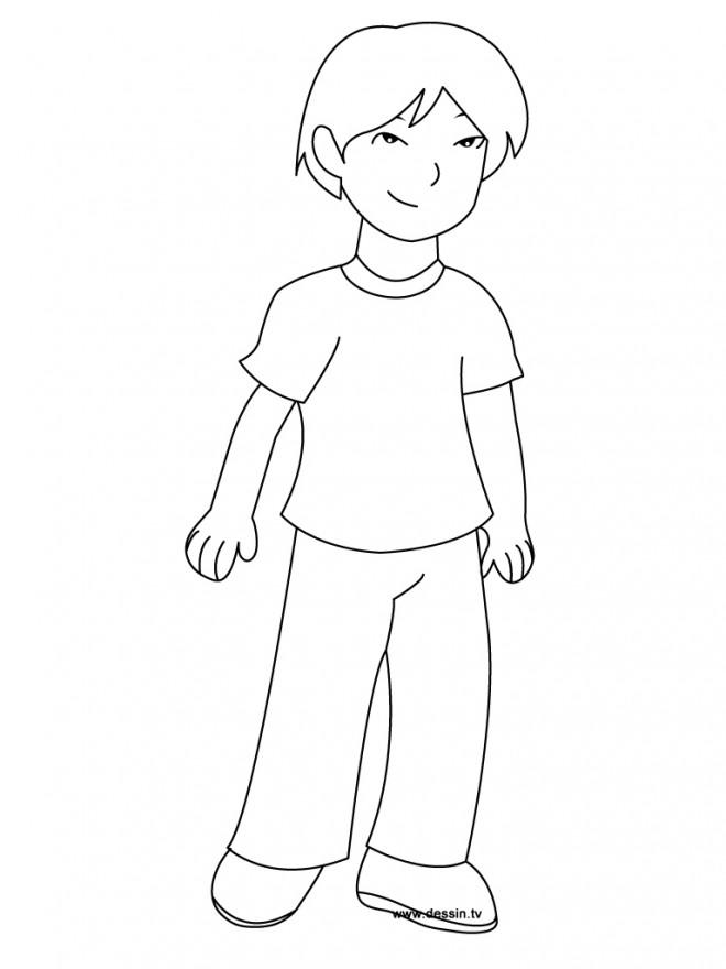 Coloriage un beau gar on dessin gratuit imprimer - Dessin petit garcon ...