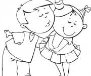 Coloriage Un garçon embrasse une fille