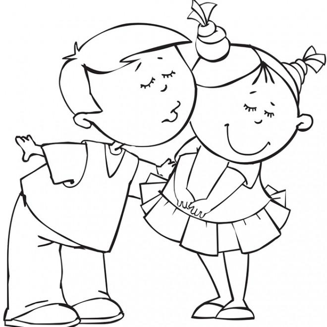 Coloriage Fille Garcon.Coloriage Un Garcon Embrasse Une Fille Dessin Gratuit A Imprimer