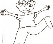 Coloriage et dessins gratuit Un garçon jouant à imprimer