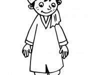 Coloriage Un garçon porte des vêtements arabes