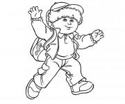 Coloriage Un petit garçon sur le chemin de l'école