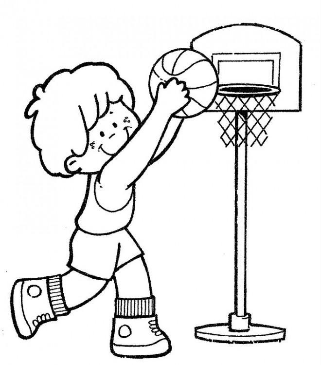 Coloriage et dessins gratuits Un petit joueur de Basketball à imprimer