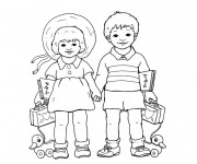 Coloriage Une fille et un garçon portent leurs affaires