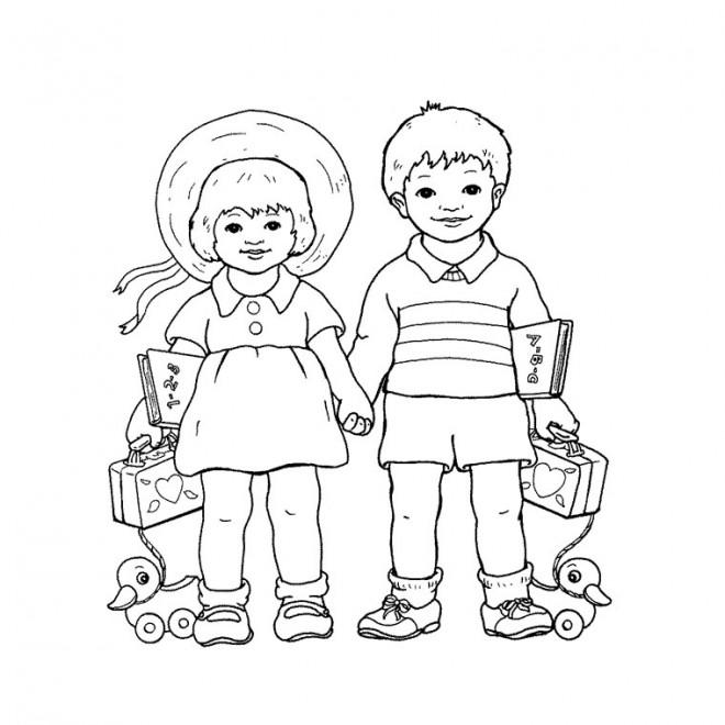 Coloriage et dessins gratuits Une fille et un garçon portent leurs affaires à imprimer