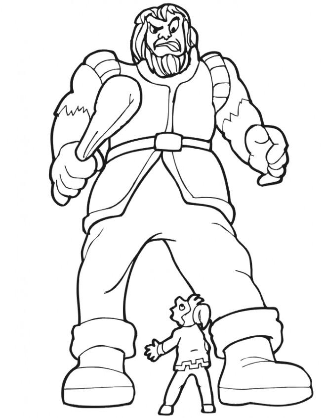 Coloriage et dessins gratuits Géant et petit homme à imprimer