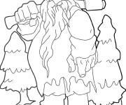 Coloriage et dessins gratuit Géant qui porte son axe à imprimer