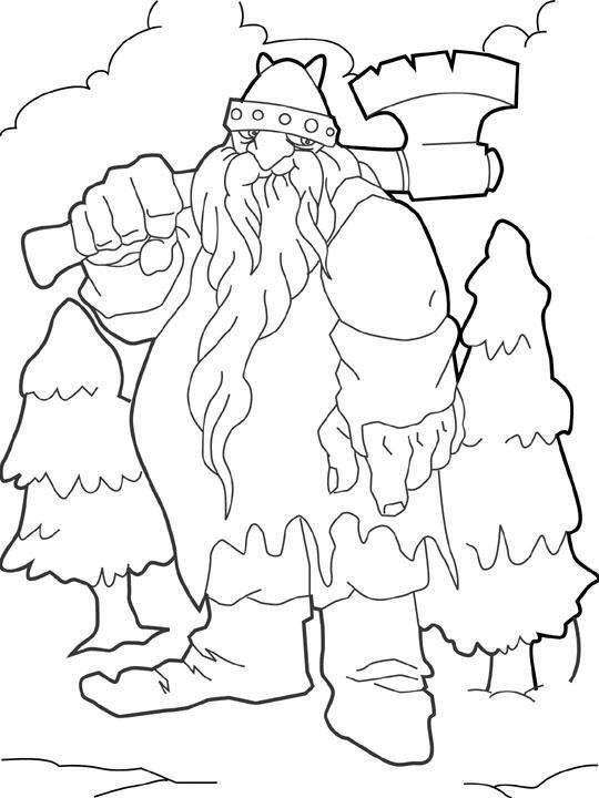 Coloriage et dessins gratuits Géant qui porte son axe à imprimer