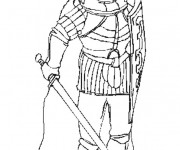 Coloriage et dessins gratuit Chevalier avec une épée à imprimer