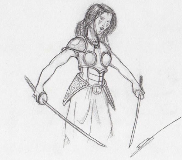 Coloriage et dessins gratuits Dessin de guerrière avec deux épées à imprimer