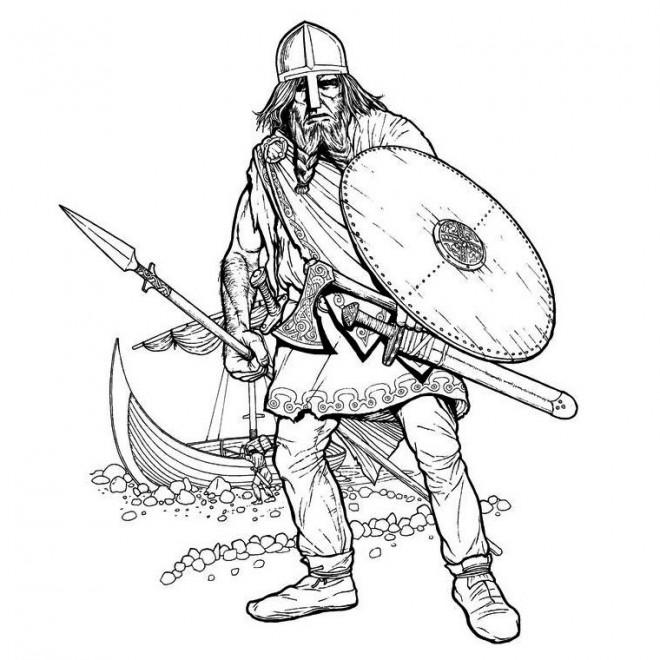Coloriage et dessins gratuits Dessin Guerrier Viking à imprimer