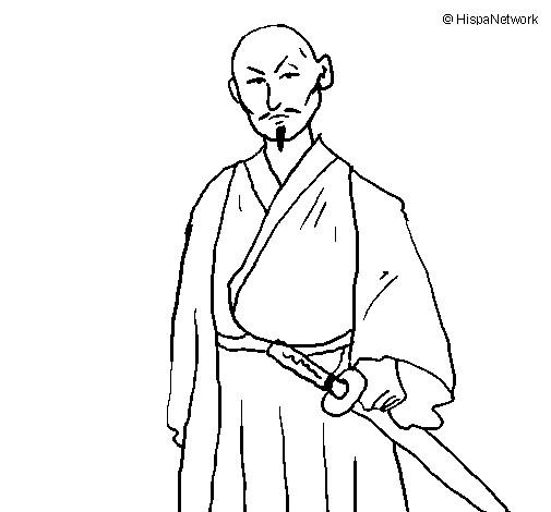 Coloriage et dessins gratuits Guerrier armé d'un katana à imprimer