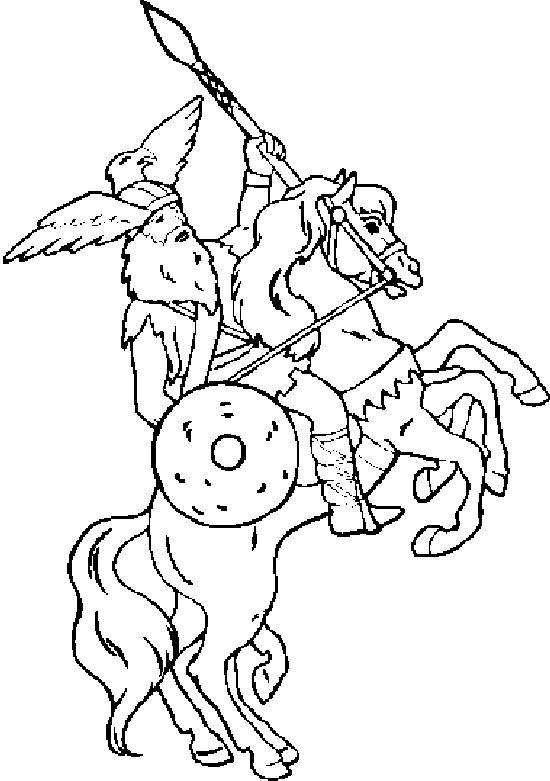 Coloriage et dessins gratuits Guerrier avec un chapeau d'aigle à imprimer