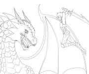 Coloriage Guerrier et Dragon