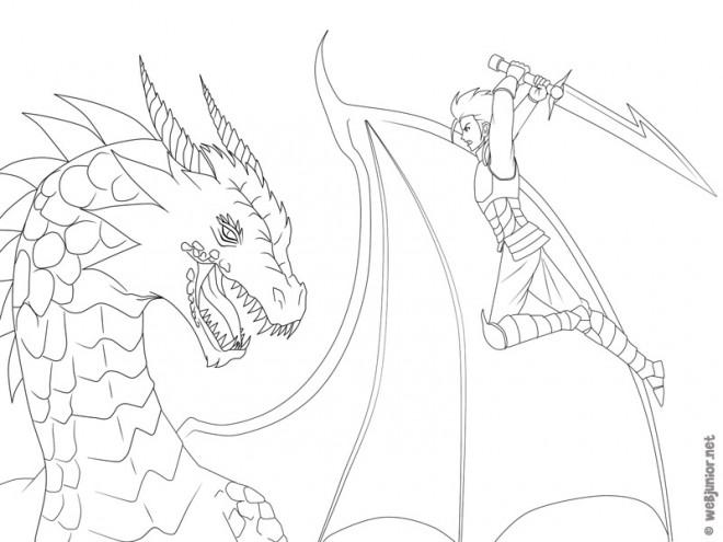Coloriage et dessins gratuits Guerrier et Dragon à imprimer