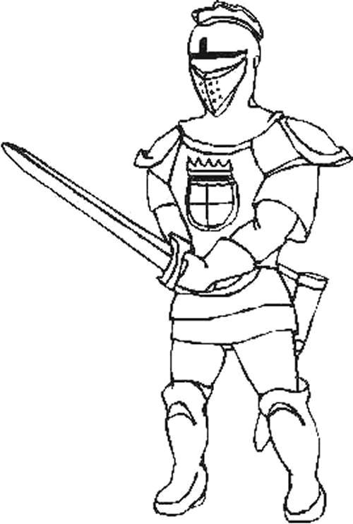 Coloriage et dessins gratuits Guerrier portant son épée à imprimer