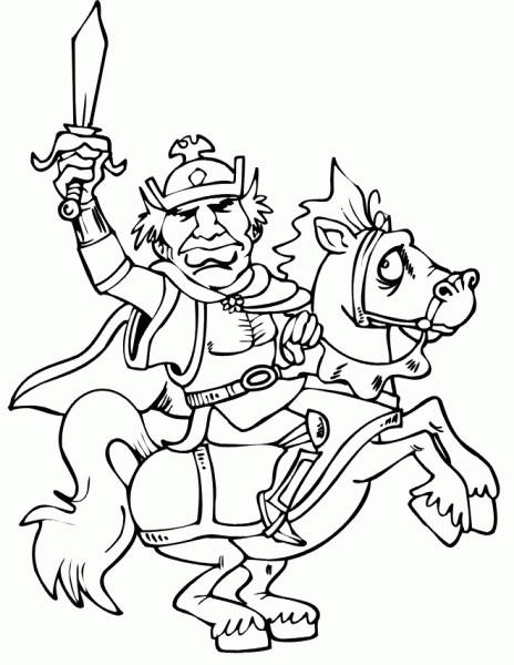 Coloriage et dessins gratuits Guerrier sur cheval couleur à imprimer