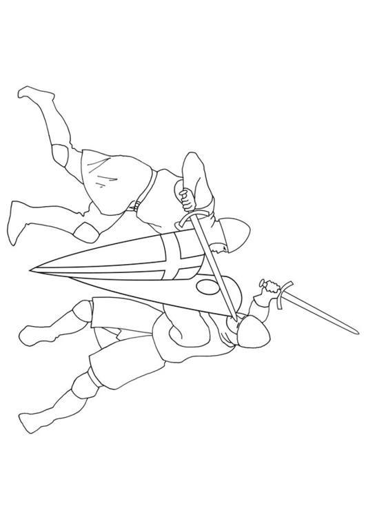 Coloriage et dessins gratuits Guerriers en bataille à imprimer