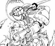 Coloriage et dessins gratuit Puissant guerrier en combat à imprimer