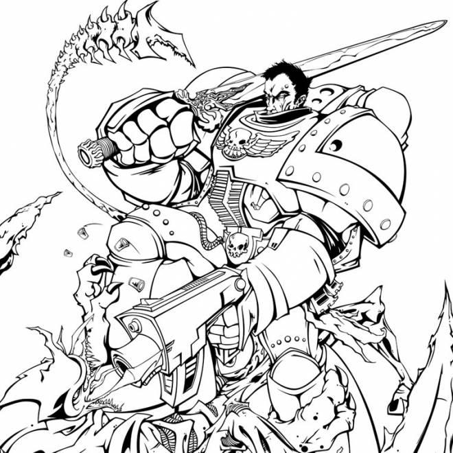 Coloriage et dessins gratuits Puissant guerrier en combat à imprimer