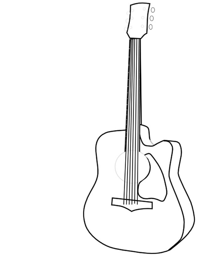 Coloriage et dessins gratuits Dessin de Guitare à imprimer