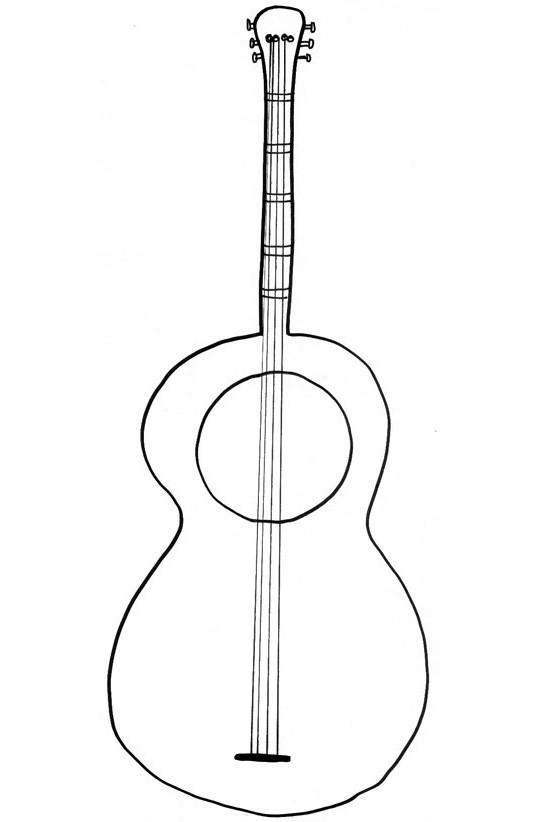 Coloriage et dessins gratuits Dessin de guitare classique à imprimer