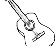 Coloriage Dessin de guitare facile