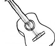 Coloriage et dessins gratuit Dessin de guitare facile à imprimer