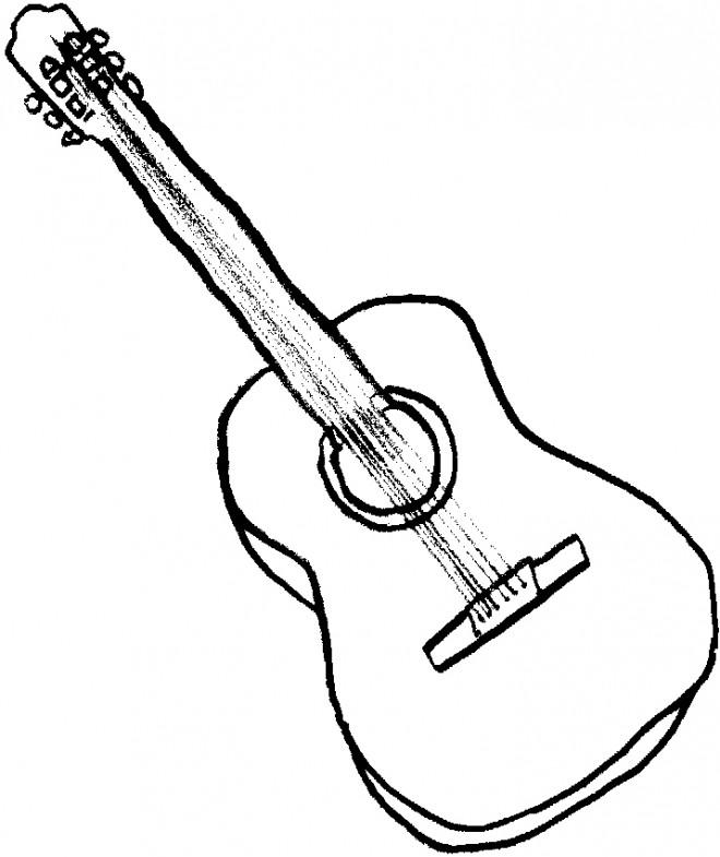 Coloriage et dessins gratuits Dessin de guitare facile à imprimer