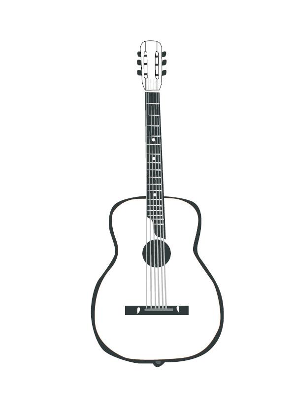 Coloriage et dessins gratuits Dessin guitare simple à imprimer