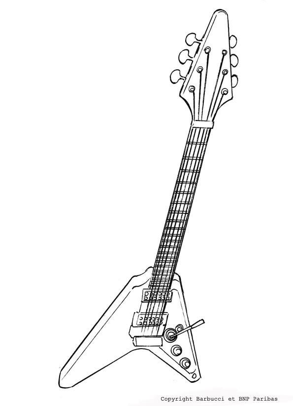 Coloriage et dessins gratuits Forte silhouette de guitare à imprimer