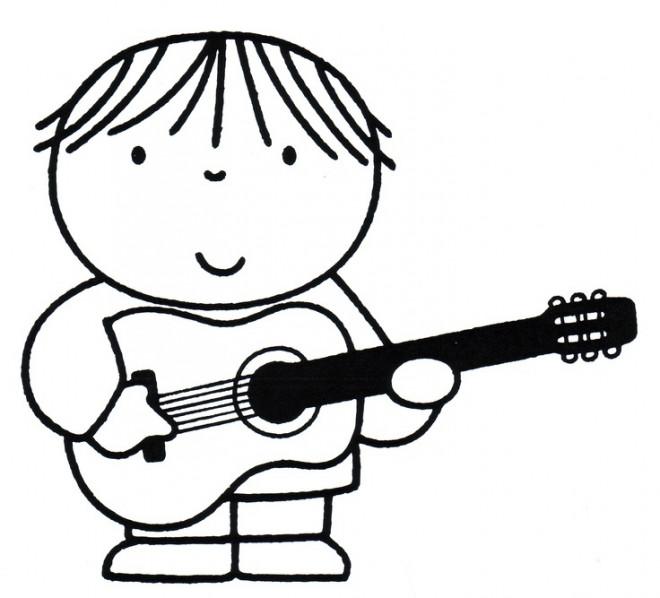 Coloriage et dessins gratuits Garçon Guitariste à imprimer