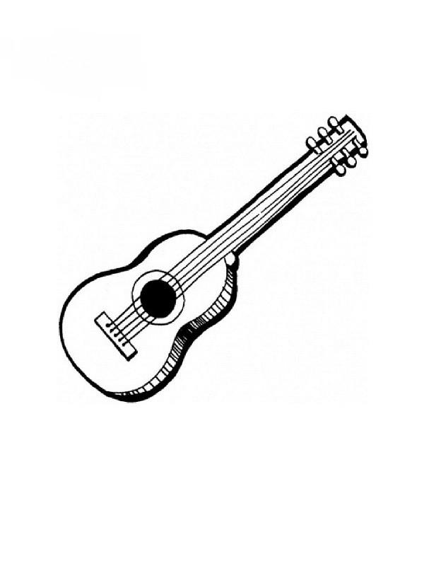 Coloriage et dessins gratuits Guitare à cinq cordes à imprimer