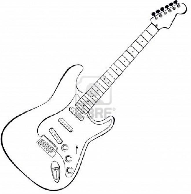 Coloriage et dessins gratuits Guitare acoustique à imprimer