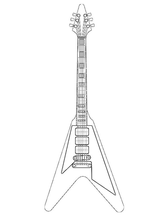 Coloriage et dessins gratuits Guitare acoustique couleur à imprimer