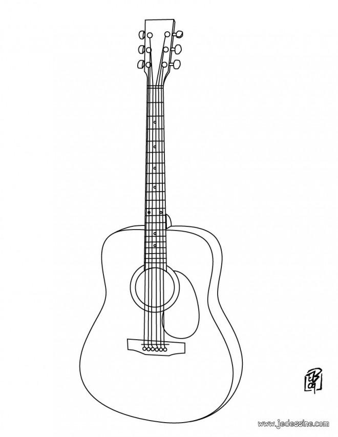 Coloriage et dessins gratuits Guitare classique en couleur à imprimer