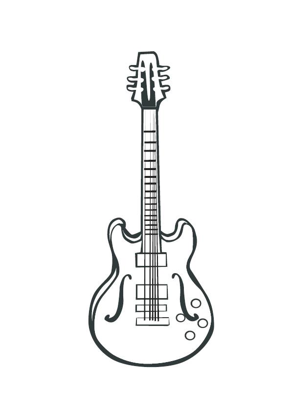 Coloriage et dessins gratuits Guitare dessin en couleur à imprimer