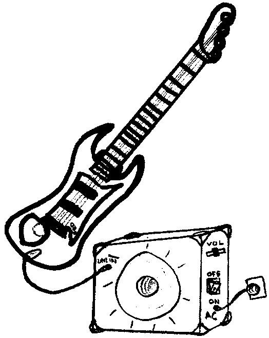 Coloriage et dessins gratuits Guitare électrique et baffle à imprimer