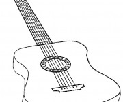Coloriage Guitare en couleur