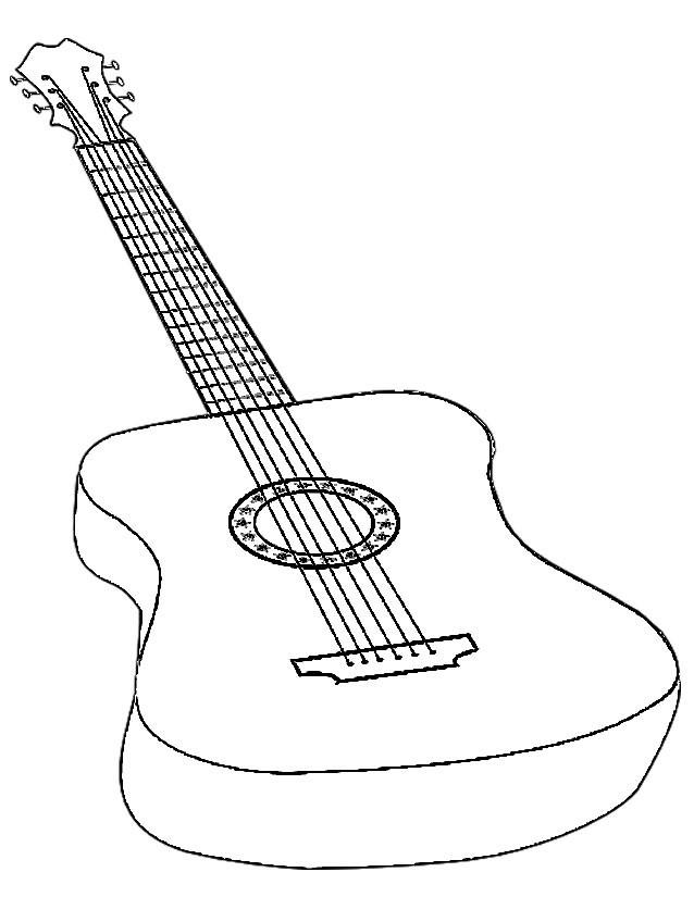 Coloriage et dessins gratuits Guitare en couleur à imprimer
