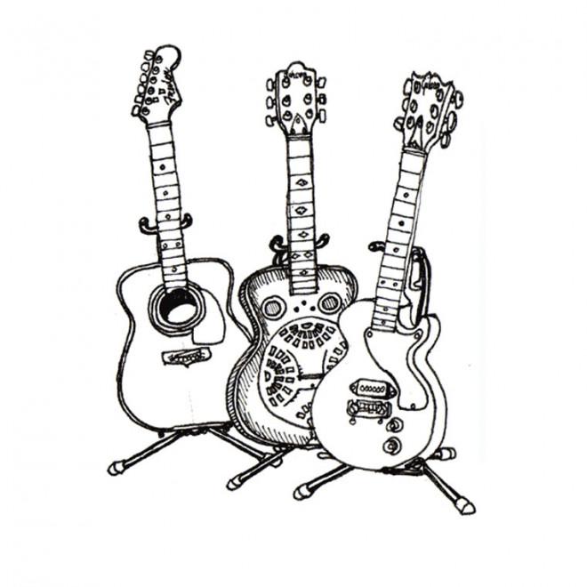 Coloriage et dessins gratuits Guitare en ligne à imprimer