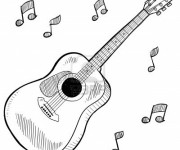 Coloriage Guitare instrument musicale