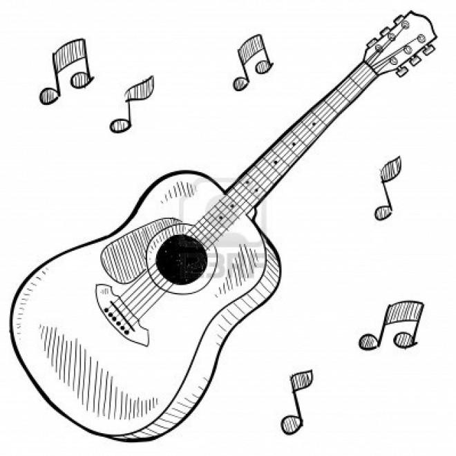 Coloriage et dessins gratuits Guitare instrument musicale à imprimer