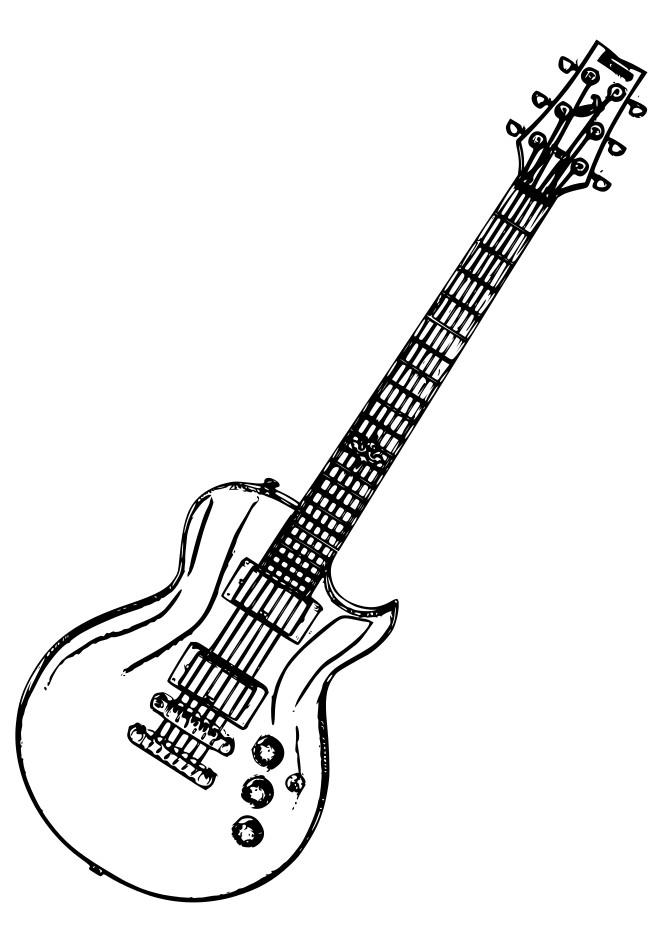Coloriage et dessins gratuits Guitare rock facile à imprimer