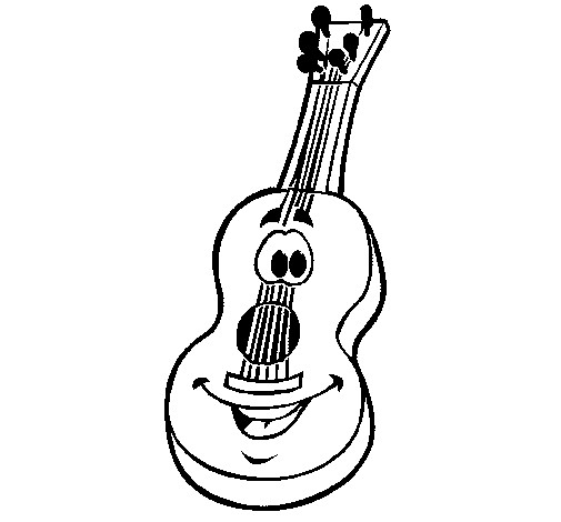 Coloriage et dessins gratuits Guitare souriant à imprimer