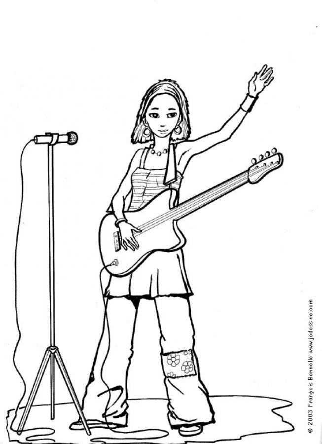 Coloriage et dessins gratuits Guitariste avec guitare Rock à imprimer